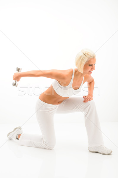 Woman white fitness exercise with weights Stock photo © CandyboxPhoto