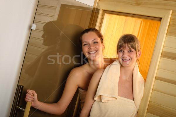 Boldog nők szauna wellness központ ki Stock fotó © CandyboxPhoto