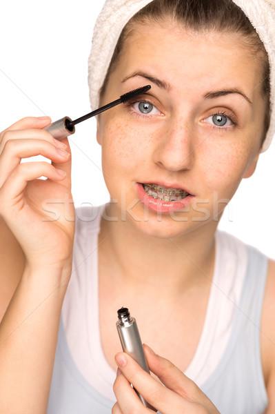 Lány fogszabályozó jelentkezik smink izolált tinilány Stock fotó © CandyboxPhoto