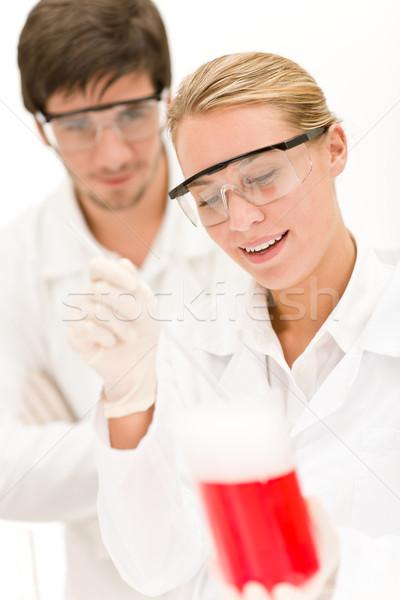 Kémia kísérlet tudósok laboratórium visel védőszemüveg Stock fotó © CandyboxPhoto