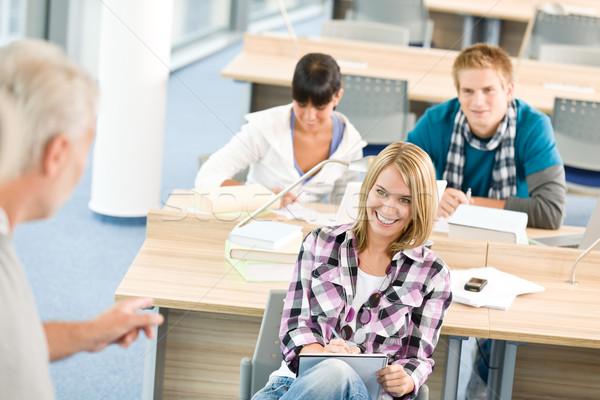 Lise üç Öğrenciler profesör olgun sınıf Stok fotoğraf © CandyboxPhoto