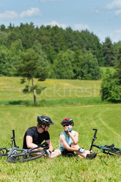Сток-фото: спорт · Горный · велосипед · пару · расслабиться · счастливым