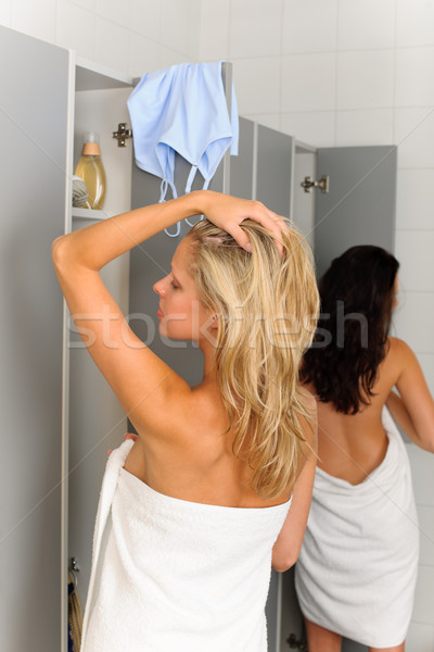 Locker room two relaxed women wrapped towel Stock photo © CandyboxPhoto