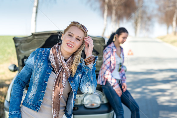 Car defect two women wait for help Stock photo © CandyboxPhoto