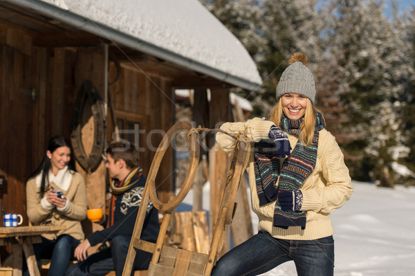 Young woman spend holiday winter show cottage Stock photo © CandyboxPhoto
