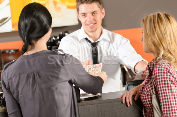 Female customers paying by cash CZK bar Stock photo © CandyboxPhoto