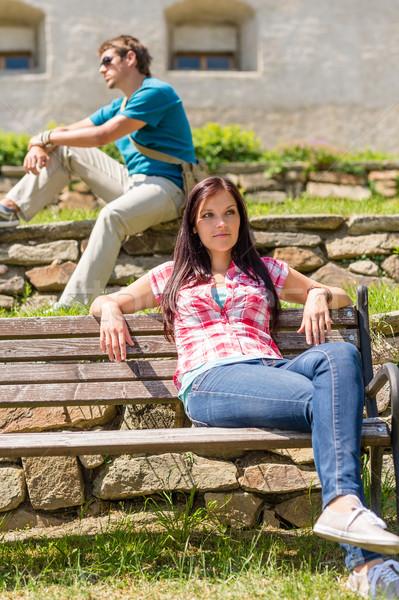 Jovens relaxar parque banco sessão Foto stock © CandyboxPhoto
