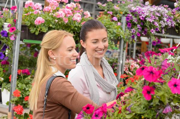 Two customer woman choose flowers garden center Stock photo © CandyboxPhoto