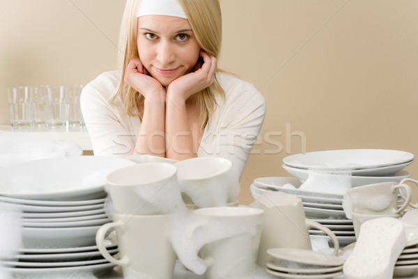 Modern kitchen - tired woman in kitchen Stock photo © CandyboxPhoto