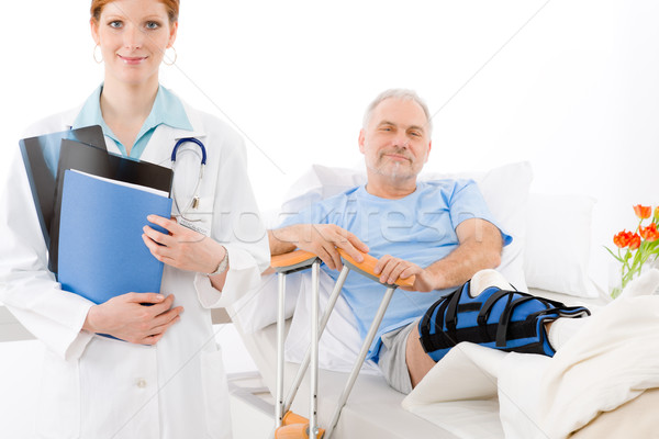 Hospital - female doctor patient broken leg Stock photo © CandyboxPhoto