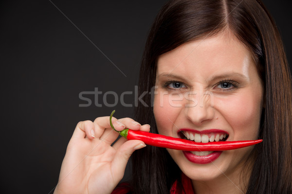 Chili pepper - portrait young woman red spicy Stock photo © CandyboxPhoto