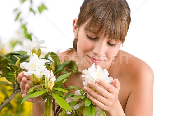Stockfoto: Portret · vrouw · bloesem · bloem · witte · voorjaar