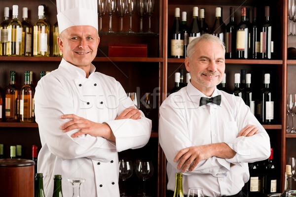 Chef cook and waiter restaurant wine bar Stock photo © CandyboxPhoto