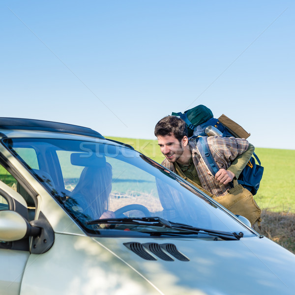 Hitch-hiking getting lift young woman in car Stock photo © CandyboxPhoto