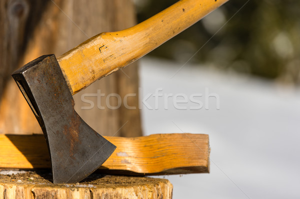 Ax stuck in block of wood winter Stock photo © CandyboxPhoto