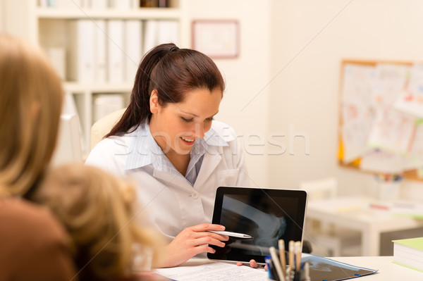 Pediatrician woman X-ray showing on tablet Stock photo © CandyboxPhoto