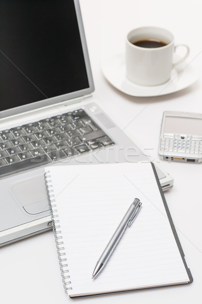 Business workplace pen notepad laptop phone coffee Stock photo © CandyboxPhoto