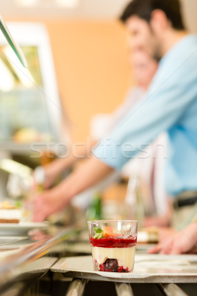 Forest fruit dessert on serving tray cafeteria Stock photo © CandyboxPhoto