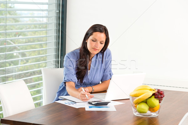 Student studying writing research examination living room Stock photo © CandyboxPhoto