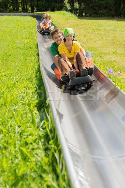 Happy Couples Enjoying Alpine Coaster Luge Stock photo © CandyboxPhoto