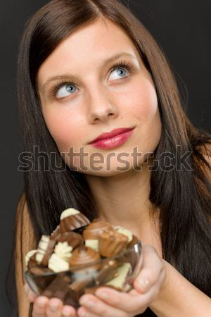 Chocolate - portrait young woman desire Stock photo © CandyboxPhoto