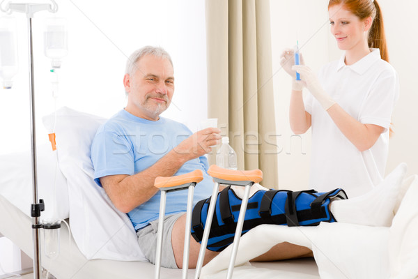 Stock photo: Hospital - female nurse syringe patient broken leg