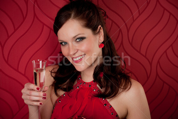 Cocktail party vrouw champagne aanwezig drinken partij Stockfoto © CandyboxPhoto