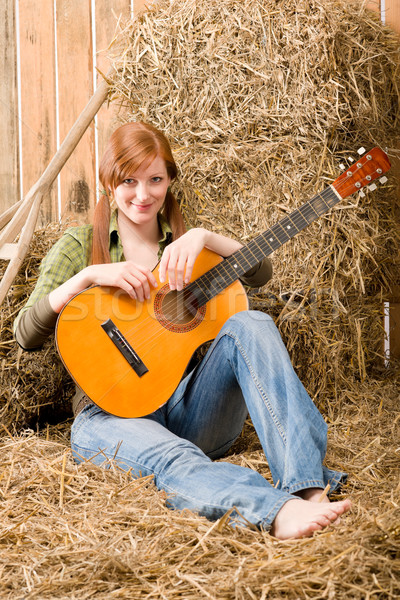 Fiatal vidék nő ül széna gitár Stock fotó © CandyboxPhoto