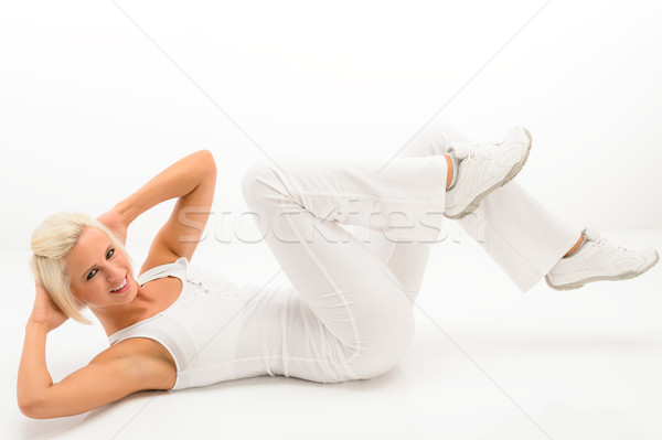 Fitness instructor exercise abdominals white floor Stock photo © CandyboxPhoto