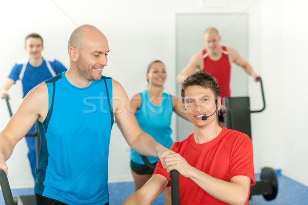 Young fitness instructor lead class alpinning Stock photo © CandyboxPhoto