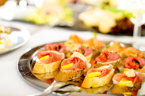 Catering canapes tray food details appetizers Stock photo © CandyboxPhoto