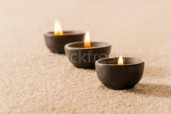 Photo stock: Spa · thérapie · trois · bougies · sable · luxe