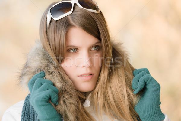 Tél divat nő napszemüveg szőr kesztyű Stock fotó © CandyboxPhoto