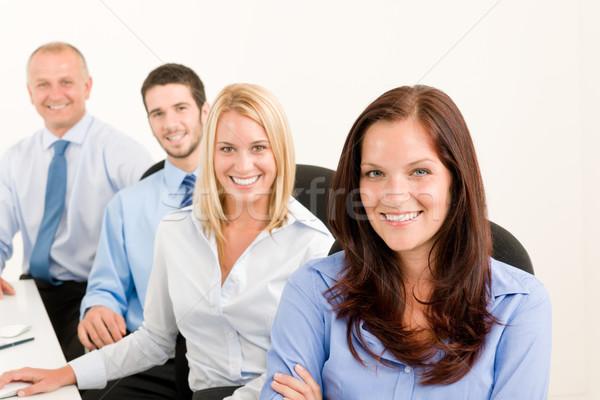 бизнес-команды счастливым сидеть линия за таблице Сток-фото © CandyboxPhoto