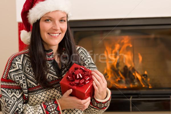 Foto stock: Navidad · presente · mujer · sombrero · casa
