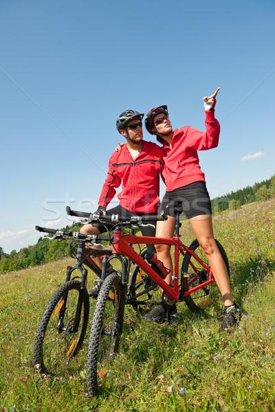 Equitação mountain bike primavera prado natureza Foto stock © CandyboxPhoto