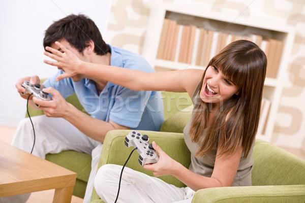 öğrenci mutlu gençler oynama video oyunu kontrol Stok fotoğraf © CandyboxPhoto