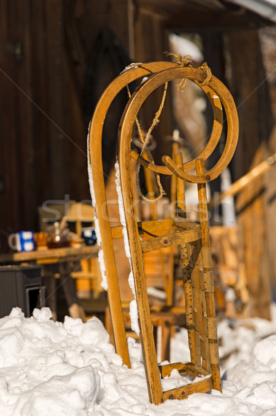 Close-up of wooden sledge snow winter cottage Stock photo © CandyboxPhoto