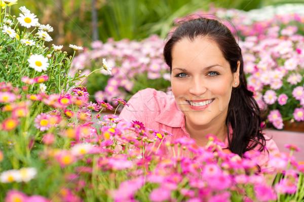 Stock photo: Portrait beautiful woman with pink daisy flowers