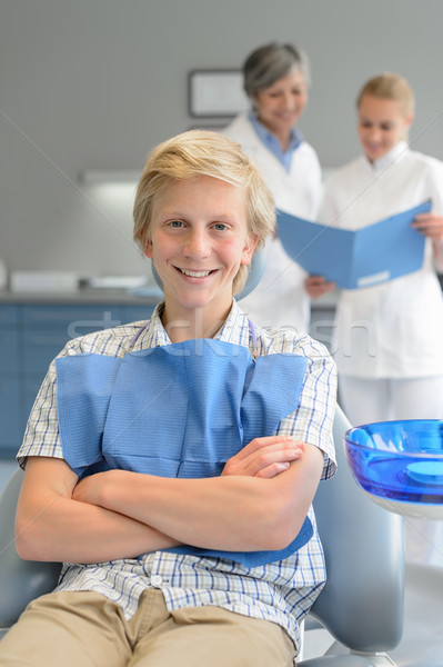 Teenager boy dental checkup dentist and assistant Stock photo © CandyboxPhoto