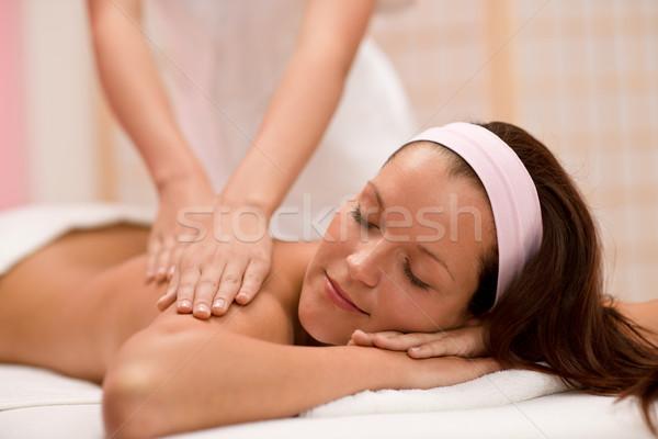 Ciało opieki kobieta powrót masażu dzień Zdjęcia stock © CandyboxPhoto