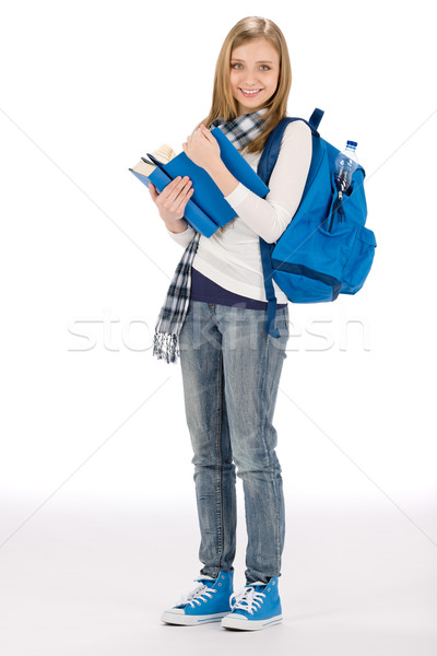 Student teenager woman with schoolbag book Stock photo © CandyboxPhoto