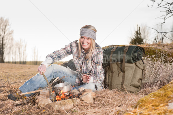 Campfire hiking woman with backpack cook country Stock photo © CandyboxPhoto