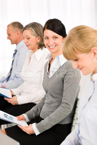 Stockfoto: Interview · zakenlieden · wachten · studie · verslag · vrouw