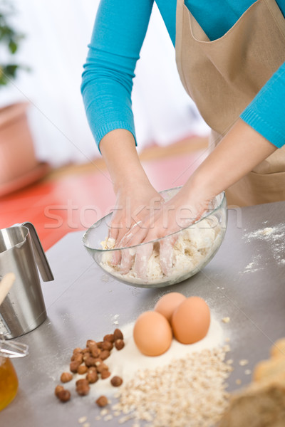 Baking - Hands of woman kneading healthy dough Stock photo © CandyboxPhoto