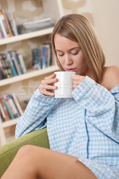 Studenten vrouwelijke tiener pyjama ontspannen Stockfoto © CandyboxPhoto