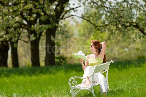 Fiatal nő megnyugtató virág fa tavasz vörös haj Stock fotó © CandyboxPhoto