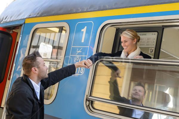 Kadın tren adam el Stok fotoğraf © CandyboxPhoto
