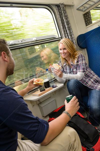Pár utazó vonat eszik szendvicsek éhes Stock fotó © CandyboxPhoto