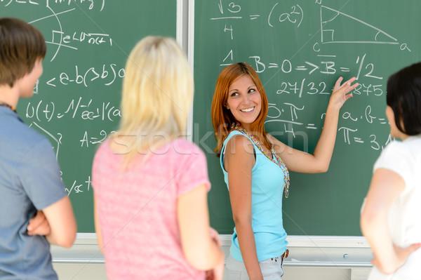 студентов Постоянный зеленый доске Math Сток-фото © CandyboxPhoto